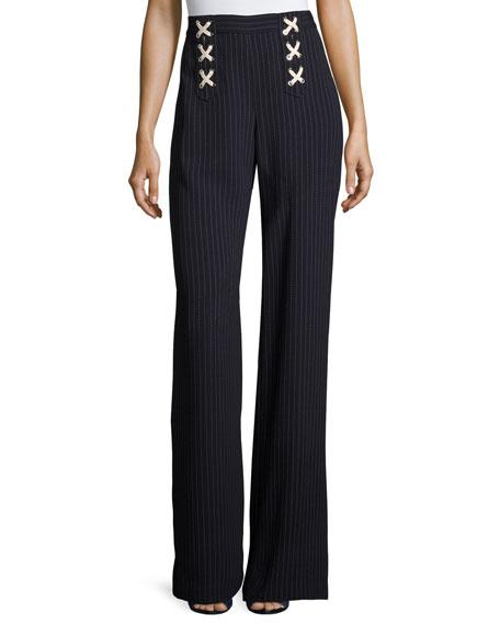 Quinn Striped Lace-Up Wide-Leg Pants