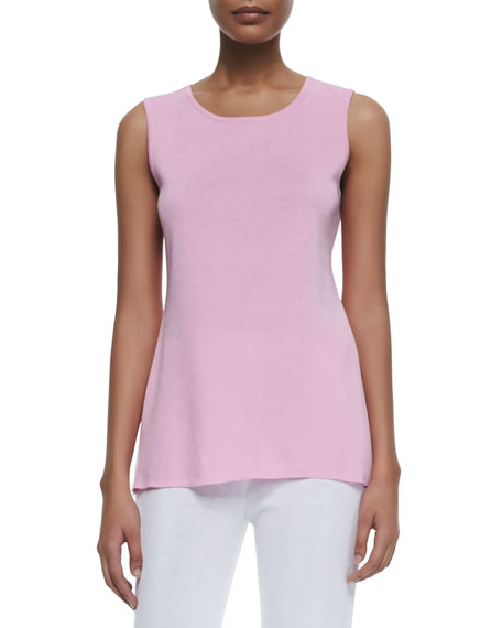 Misook Sleeveless Long Tank, Peony, Plus Size