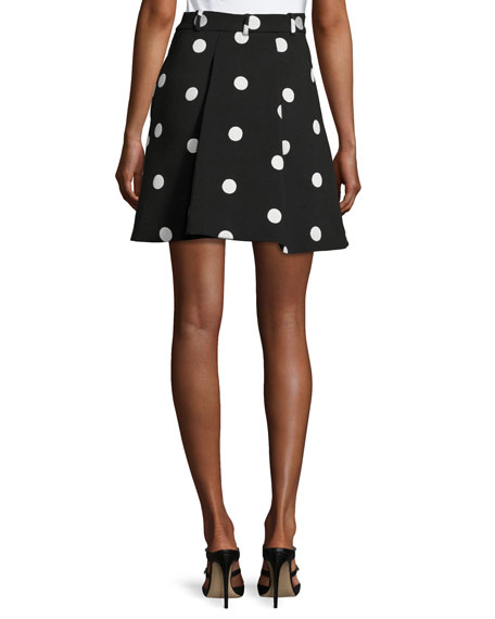 Pleated Polka-Dot Jacquard Skirt