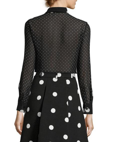 BOUTIQUE MOSCHINO Long-Sleeve Tie-Neck Polka-Dot Silk Blouse, Black/White