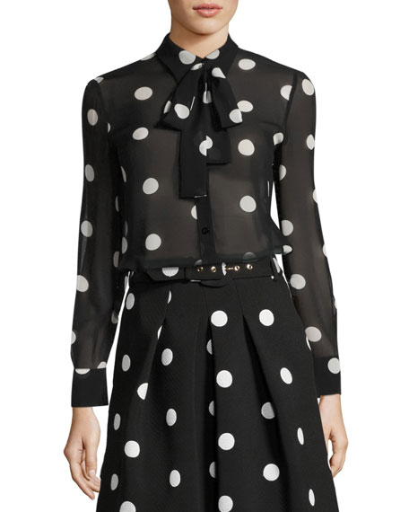 Boutique Moschino Long-Sleeve Tie-Neck Polka-Dot Silk Blouse