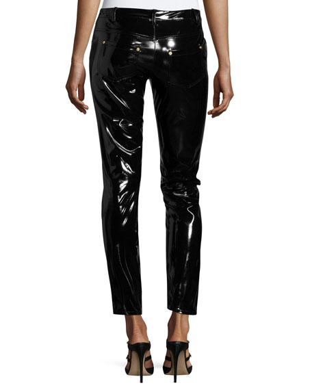 Shiny Vinyl Slim-Leg Ankle Pants