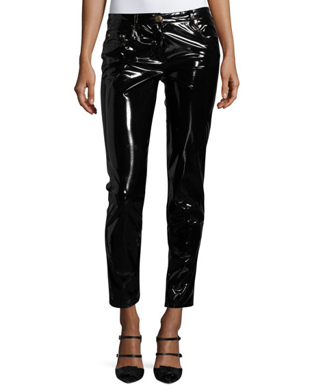 Boutique Moschino Shiny Vinyl Slim-Leg Ankle Pants and