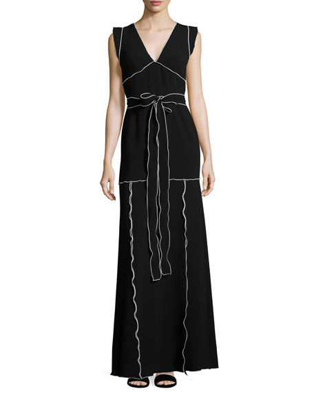 Boutique Moschino Flutter-Sleeve Contrast-Piped Knit Maxi Dress