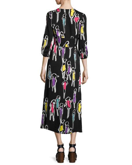 BOUTIQUE MOSCHINO 3/4-Sleeve Fashion-Print Long Dress, Multi Pattern