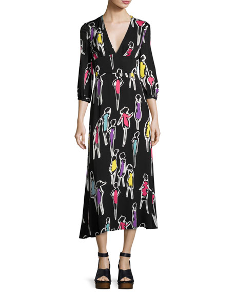 Boutique Moschino 3/4-Sleeve Fashion-Print Long Dress, Multi