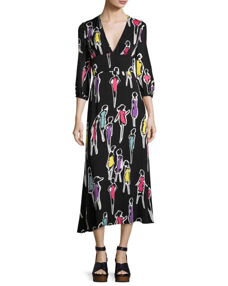 Boutique Moschino 3/4-Sleeve Fashion-Print Long Dress, Multi