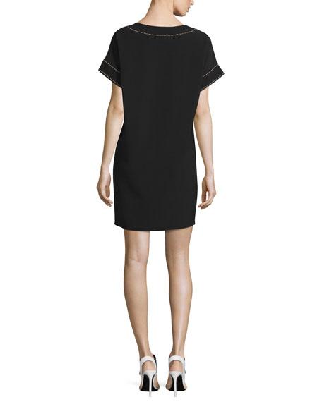Short-Sleeve Studded Crepe Shift Dress