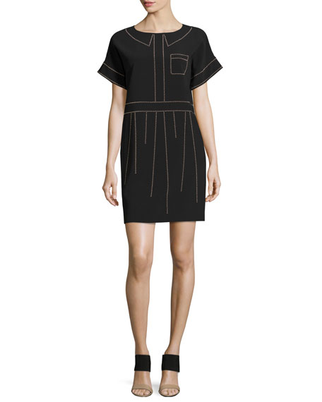 Boutique Moschino Short-Sleeve Studded Crepe Shift Dress
