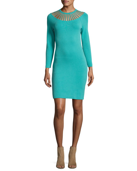 Boutique Moschino Long-Sleeve Sheath Dress w/ Banded Yoke