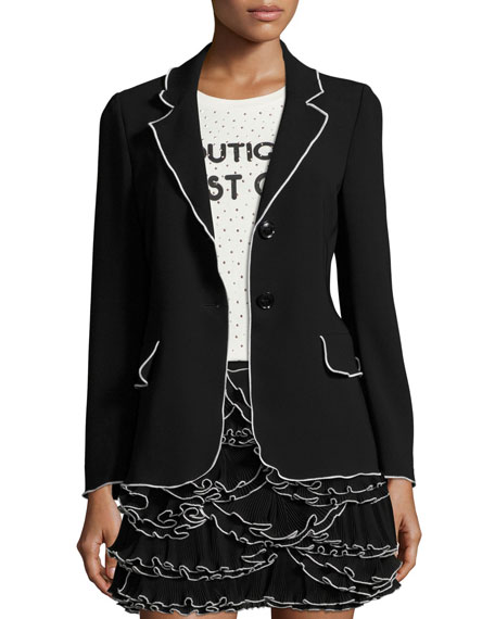 Boutique Moschino Contrast-Tipped Crepe Blazer