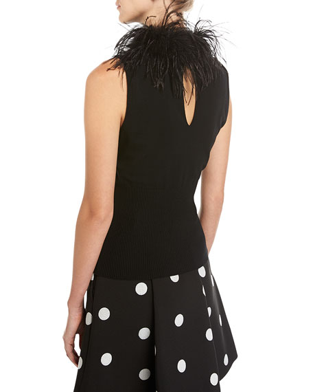 Feather-Collar Sleeveless Knit Top, Black