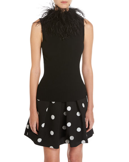Boutique Moschino Pleated Polka-Dot Jacquard Skirt and Matching