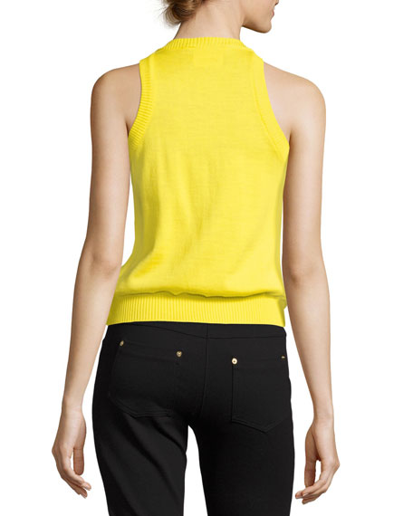 Sleeveless Ruffle-Front Knit Top