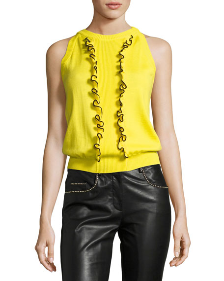 Boutique Moschino Sleeveless Ruffle-Front Knit Top