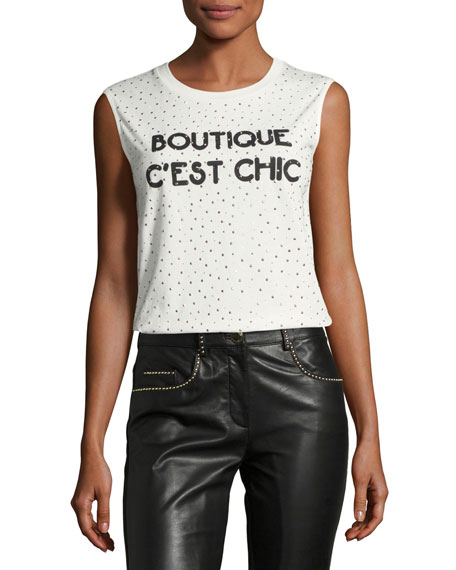 Boutique Moschino Sleeveless Embellished Boutique C'est Chic Tee