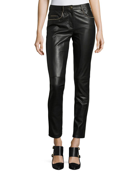 Boutique Moschino Studded Leather Combo Slim Pants