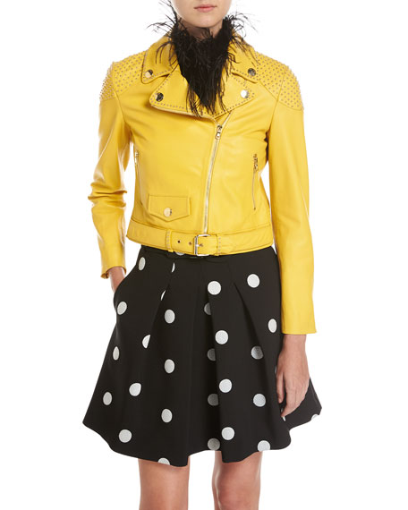 Boutique Moschino Studded Leather Biker Jacket