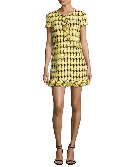 Short-Sleeve Fringe-Trim Tweed Minidress