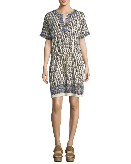 Tory Burch Amara Short-Sleeve Graphic-Print Cotton Dress