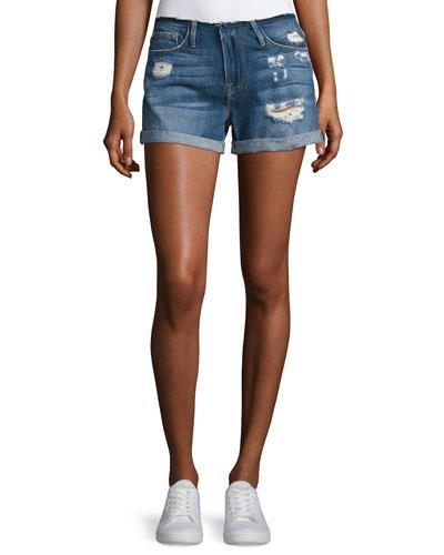 Le Cutoff Cuff Frayed Denim Shorts, Blue