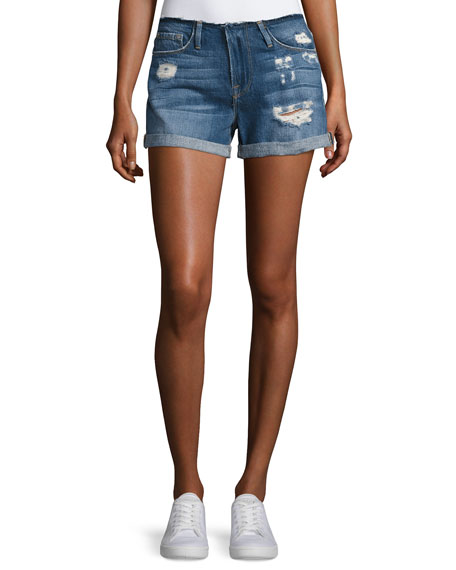 FRAME Le Cutoff Cuff Frayed Denim Shorts, Blue