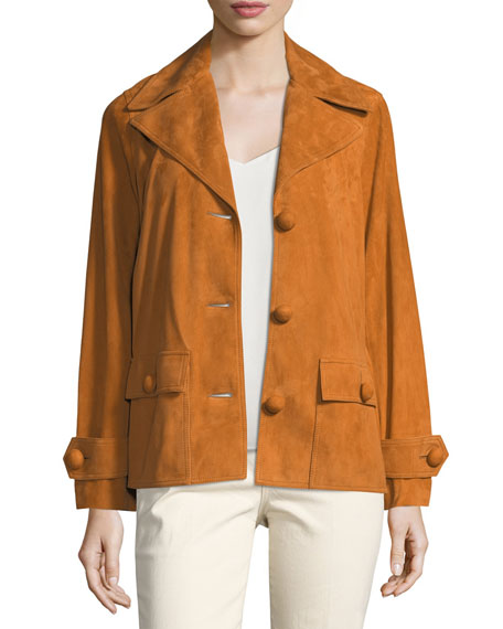 Tory Burch Holly Button-Front Suede Jacket