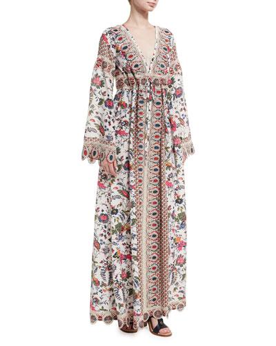 Rosemary Empire-Waist Long-Sleeve Maxi Dress