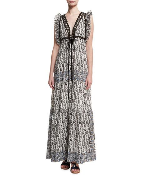 Amita V-Neck Sleeveless Maxi Dress W/ Ruffled Trim