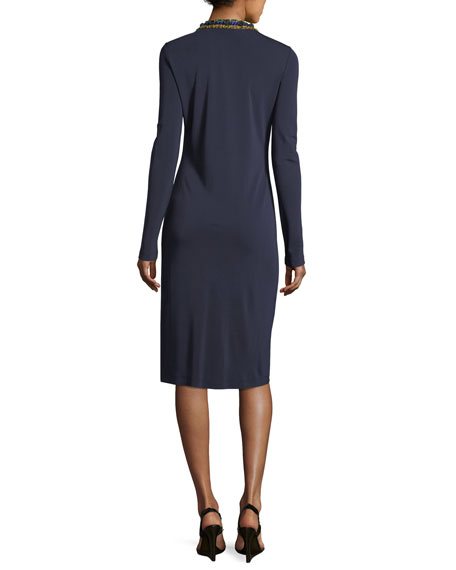 Sabina Long-Sleeve Jersey Sheath Dress w/ Jeweled Trim