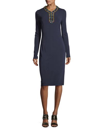 Sabina Long-Sleeve Jersey Sheath Dress w/ Jeweled Trim