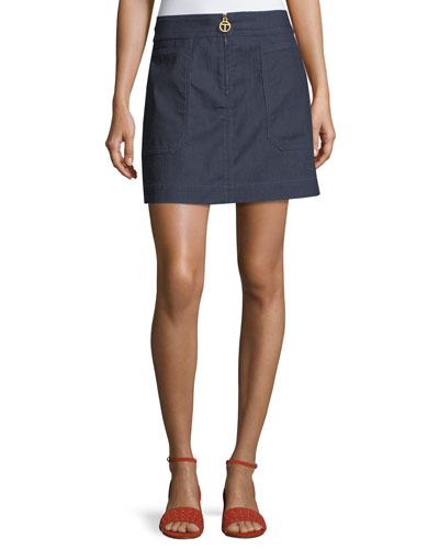 Elise Denim A-line Zip Miniskirt