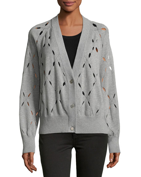 Argyle Stitch Cutout Cardigan Sweater, Gray