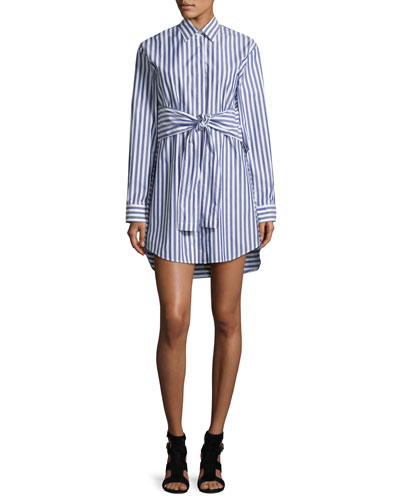 Long-Sleeve Tie Front Collared Dress, White/Blue