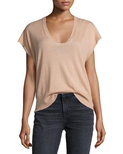 Short-Sleeve Scoop-Neck Pullover Tee, Blush