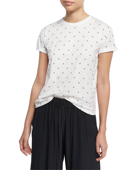 Short-Sleeve Crewneck Cotton Tee, White/Black