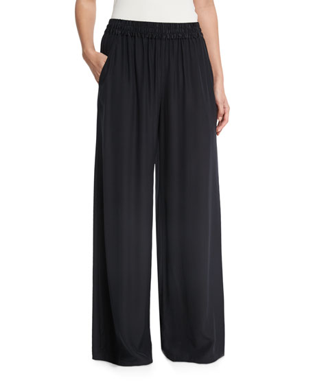 Wide-Leg Pull-On Silk Pants, Black