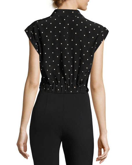 Collared Knot-Front Crop Shirt, Black Pattern