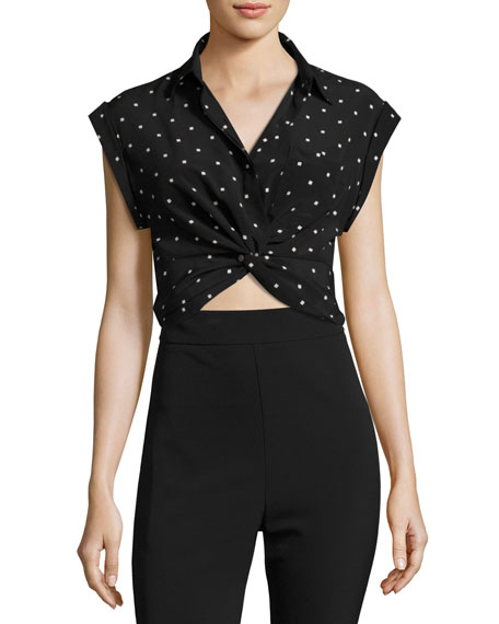 T by Alexander Wang Collared Knot-Front Crop Shirt,