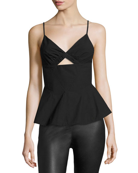 Sleeveless Shirt W/ Front Keyhole, Black