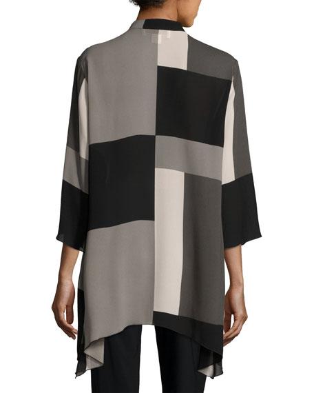Blocks Georgette Button-Front Blouse, Multi Black