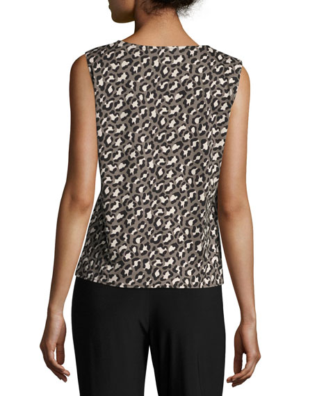 Animal-Print Knit Tank, Multi Black, Plus Size