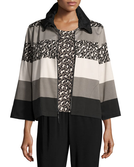 Caroline Rose Stone Age Striped Jacket, Petite and