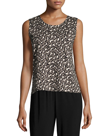 Caroline Rose Animal-Print Knit Tank, Multi Black, Petite