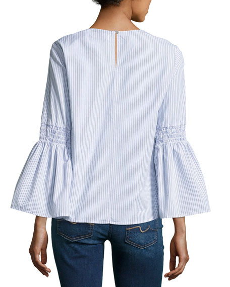 Bev Bell-Sleeve Striped Poplin Top, Blue Multi