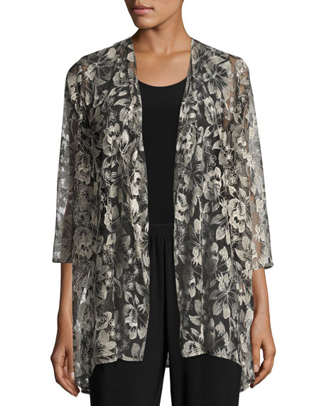 Caroline Rose Embroidered Mesh Draped Jacket, Petite