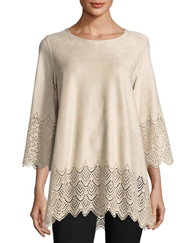 Laser-Cut Faux-Suede Pullover Tunic, Petite