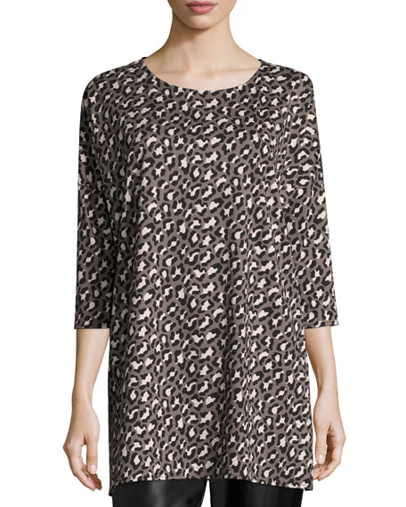 Animal-Print Half-Sleeve Easy Tunic, Plus Size