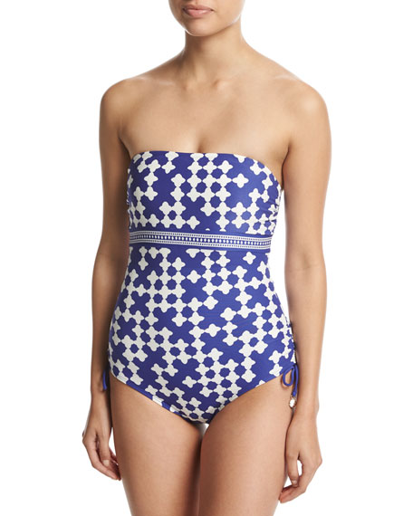 kate spade new york tile-print bandeau one-piece swimsuit,