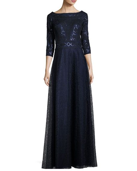 Tadashi Shoji 3/4-Sleeve Pintucked Floral Lace Gown, Navy